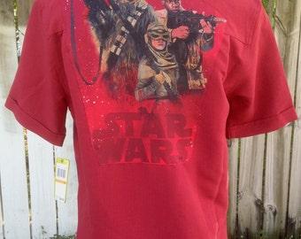 Star Wars Men's Shirt- Star Wars Gift- Star Wars Shirt- Star Wars The Force Awakens- Rey- Finn- Chewbacca- Size Small