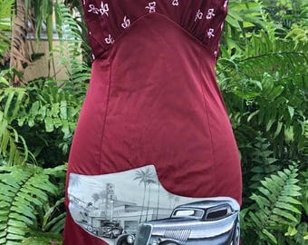 Hot Rod Rockabilly Dress Slip Dress Vintage Slip Upcycled Rare Fabric Size Small