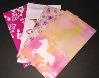 100 YOU CHOOSE 6x9 Designer Mailers Aloha Hibiscus Unicorn Roses Make up Shipping Bags Poly Mailers
