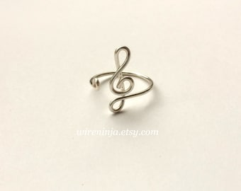 Treble Clef Ring Music Symbol Ring ~14K Gold /Rose Gold-Filled /Sterling Silver ~ Music Note Musician Gift Music Teacher ~Adjustable Size