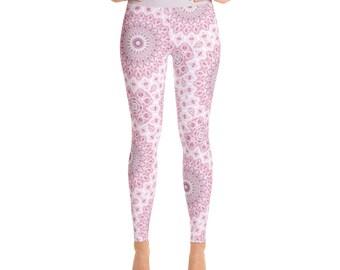 Pink Mandala Floral Leggings - Mandala Art Pants, Boho Yoga Leggings, Pink Printed Tights