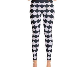Womens Workout Pants - Black and White Scale Pattern Yoga Leggings, Printed Leggings