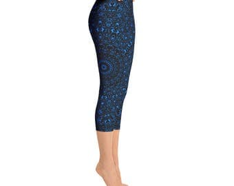 Azure Capris Leggings, Black Yoga Pants with Blue Mandala Designs for Women, Printed Leggings, Cropped Yoga Tights
