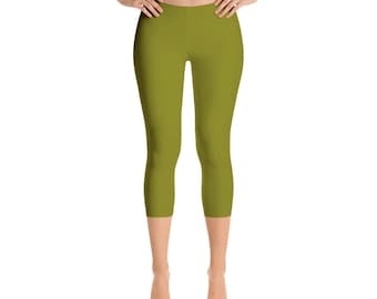 Capris - Olive Green Leggings, Stretch Pants for Women, Mid Rise Waist Yoga Pants