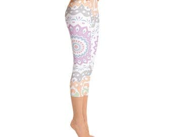 Capris - Yoga Pants for Women, Printed Spring Leggings, Pink and Gray Yoga Leggings, Peach and Green Mandala Print Pants