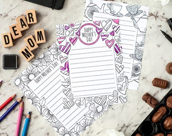Mother's Day Stationery – 3 printable letterheads to color and send to Mom / Mum | Printable PDF letterhead template for adults and kids