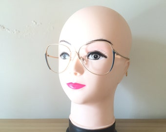 Rodenstock glasses Gold eyeglasses Blue Vintage glasses Aviator shape Oversized eyeglasses Large Eyeglass Rotina Retro Spectacle Frame cool