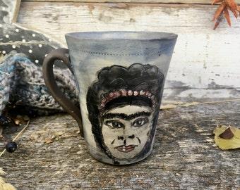 Frida mug coffee cup handmade pottery unique ceramic