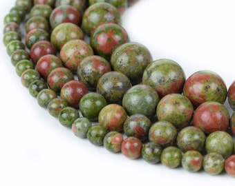 "Natural Unakite Beads Round 4mm 6mm 8mm 10mm 15.5"" Strand Loose Beads"