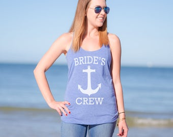 Nautical Bridesmaid Tank Tops - Bride's Crew - Cruise Ship Wedding - Bridal Party Shirts - Beach Wedding - Bachelorette Party Tanks