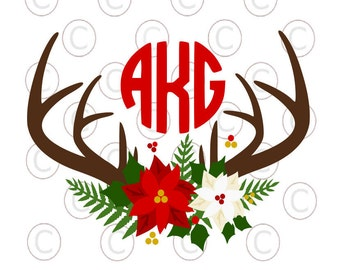 Circle Monogram Christmas Wreath, Poinsettia SVG cut file, Deer Antler Monogram SVG, HTV Designs, Svgs for Cricut & Silhouette