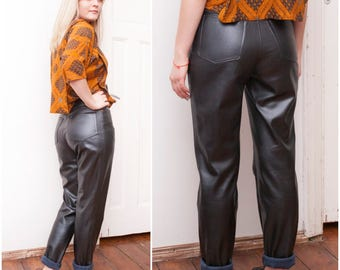 90s Black Faux Leather Pants Womens W30 L31 Tapered High Waisted Fake Eco Leather Rocker Trousers Tall High Rise Motorcycle Biker Pants M