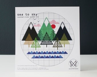 Sea To Sky - Modern Counted Cross stitch kit - Easy DIY cross stitch kit