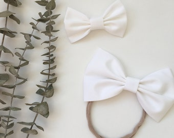 """White """"Blake"""" in Small or Large    Hair Bow    Headband or Hair Clip"""