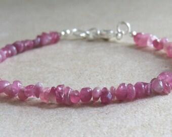 Pink Tourmaline & Silver Bracelet