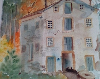 Old Mill, is an original painting done on archival paper, measures 10x14 and is matted but unframed.