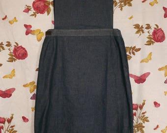 Vintage 1990s chambray denim APRON pinafore wrap dress Small