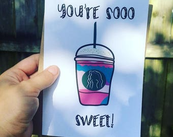 Unicorn Frappe Thank You Card
