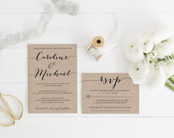 Printable Kraft Wedding Invitation Template Print, Custom Printable Wedding Set, Printable RSVP Details, White or Kraft Paper Background