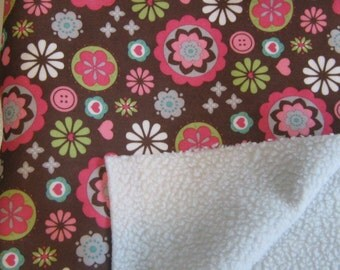 Fabric with faux sherpa lining, Colorful pink and brown design with wool-like lining