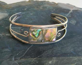 Vintage Mexico Alpaca Silver Cuff Bracelet Modernist Abalone Shell Inlay