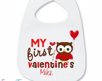 My First Valentine's Day Bib Owl Hearts Personalized Name Year Shirt Boy Shirt