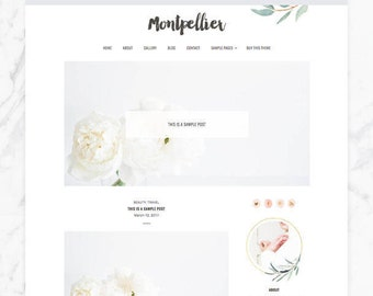 WordPress Theme — Montpellier — Responsive Wordpress Theme — Wordpress Blog Theme — Feminine Wordpress Theme