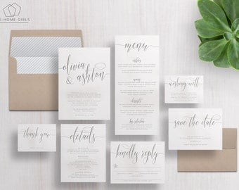 Wedding Invitation Suite Calligraphy | Save the Date | Grey | Calligraphy Invitations  | Invite Set | Olivia Suite
