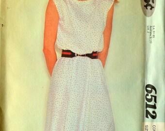 Uncut 1980s McCall's Vintage Sewing Pattern 6512, Size 10-12-14; Misses' Dress