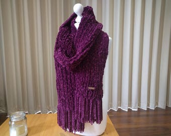 Plush Handmade Chenille Scarf in Purple, Chunky Knitted Scarf