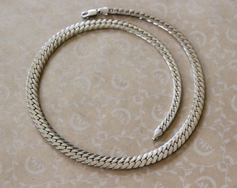 Vintage Sterling Silver Graduated Chunky Herringbone Chain Necklace