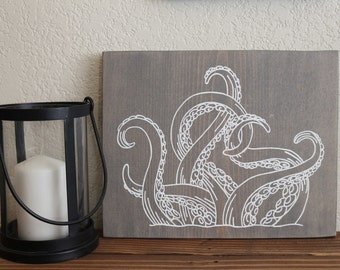 Octopus Tentacles Rustic Wood Beach Sign