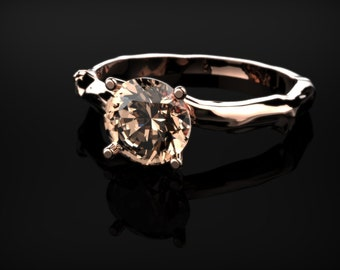 Morganite Leaf Branch Engagement Ring Rose Gold Engagement Ring Morganite Engagement Ring Morganite Ring Morganite Rose Gold Engagement Ring