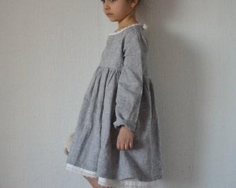 READY for SHIPPING, Linen dress, Linen girl dress, Linen dress for girls, Vintage girls dress, Flower linen dress, Flower girl dress