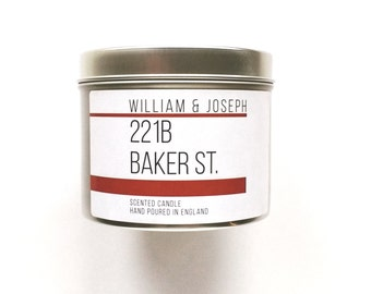 221b Baker St Scented Candle   Sherlock Holmes Inspired, Sherlock Holmes gift, 221b Baker Street, Bookish Candles