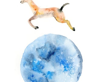 Reach for the Moon Watercolor Art Print / Moonshot Watercolor Painting / Gazelle Impala Antelope Art Print / Fantasy Art Print