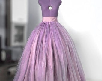 Purple organza ball skirt Full wedding gown Bridal gown Puffball skirt Crinoline Taffeta maxi skirt Lace skirt Princess gown Organza gown
