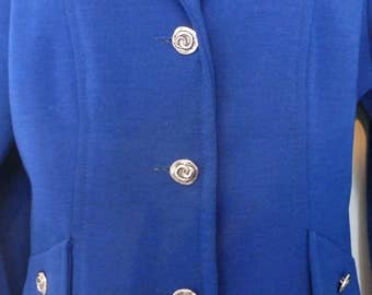 Vintage 1960 1970 Royal Blue Wool Jersey Skirt Suit by Jeannie. Size 12/14