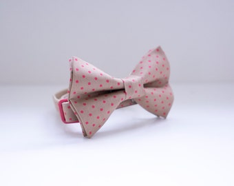 Bow Tie Collar | Mocha and Red Dot Bow Tie | Dog & Cat