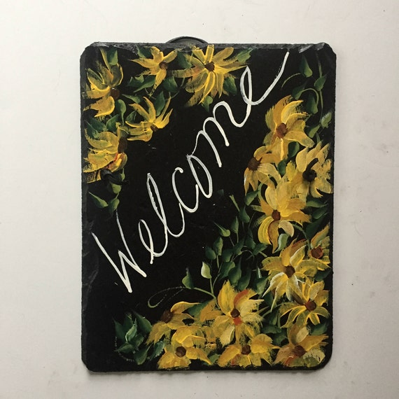 yellow Daisies Slate Welcome sign, 12 x 9  painted Slate, Door hanging, Welcome sign, door sign, garden decoration, garden decor