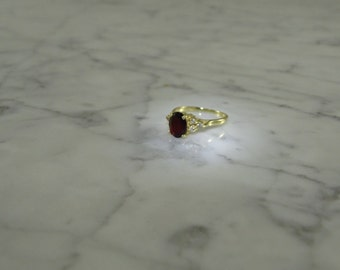 Garnet 14K Gold and Diamond Ring Size 5