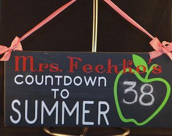 Teacher Countdown to Summer Apple Chalkboard Hanging Sign