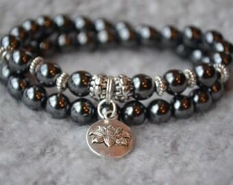 MAGNETIC HEMATITE LOTUS bracelet