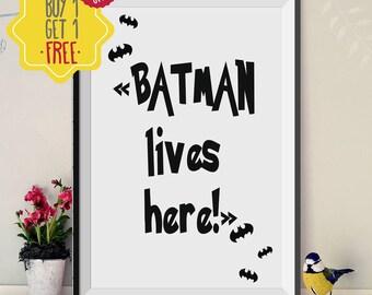Batman poster, Superhero art, Kids prints, Boys room decor, Little boy gift, Monochrome nursery, Hero signs, black and white nursery prints