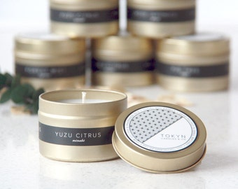 Gold Tin MINABE (Yuzu Citrus) Scented Soy Candle with Custom Pouch - Gift