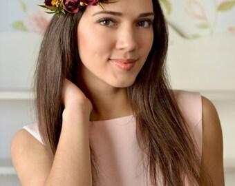 Boho Wedding floral crown Purple Ranunculus hair wreath Bridal burgundy head piece flower bridal headband wedding burgundy hair accessory