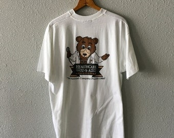 1990's Teddy Bear Graphic Vintage Healthcare Picnic T Shirt by Screen Stars