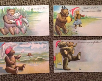 Embossesd Vintage Postcard with Teddy Bears Set of 4