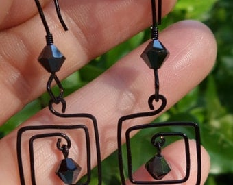 Black Swarovski Square Spiral Earrings 100% Hand Crafted
