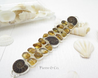 Ammonite Fossil and Citrine Sterling Silver Bracelet
